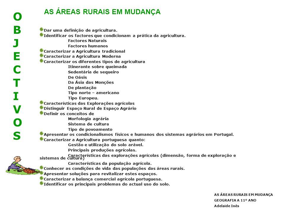 OBJECTIVOS AS ÁREAS RURAIS EM MUDANÇA
