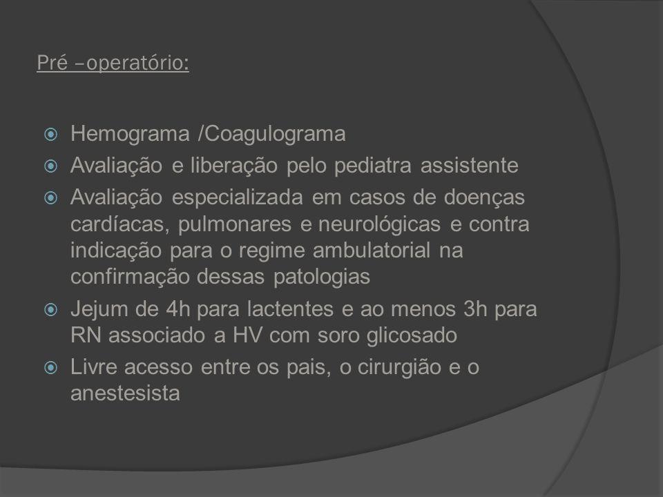 Pré –operatório: Hemograma /Coagulograma. Avaliação e liberação pelo pediatra assistente.