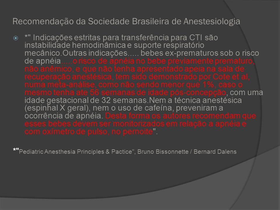 Recomendação da Sociedade Brasileira de Anestesiologia