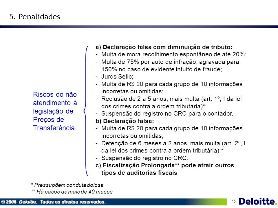 5. Penalidades Riscos do não atendimento à legislação de Preços de Transferência. a) Declaração falsa com diminuição de tributo: