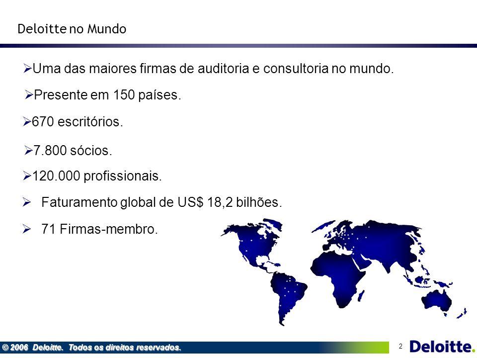 Deloitte no Mundo Uma das maiores firmas de auditoria e consultoria no mundo. Presente em 150 países.