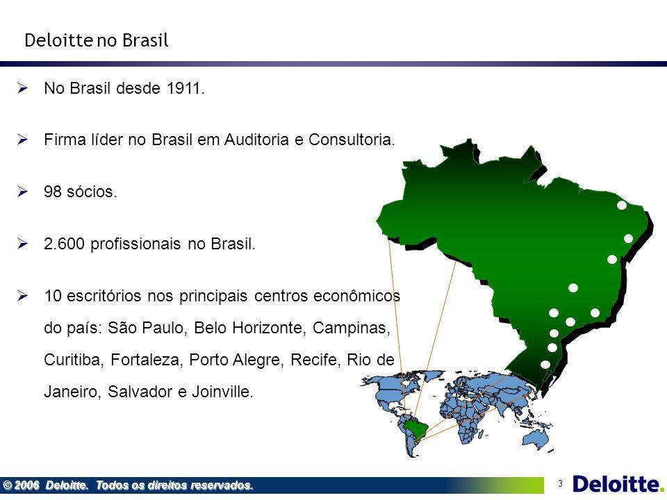 Deloitte no Brasil No Brasil desde 1911.