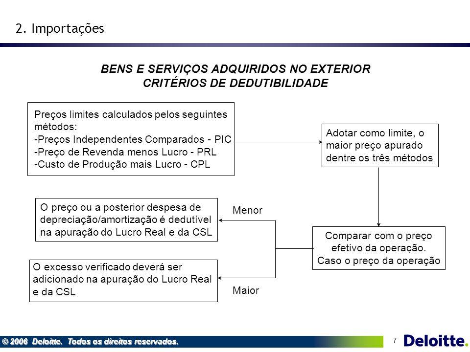 BENS E SERVIÇOS ADQUIRIDOS NO EXTERIOR CRITÉRIOS DE DEDUTIBILIDADE