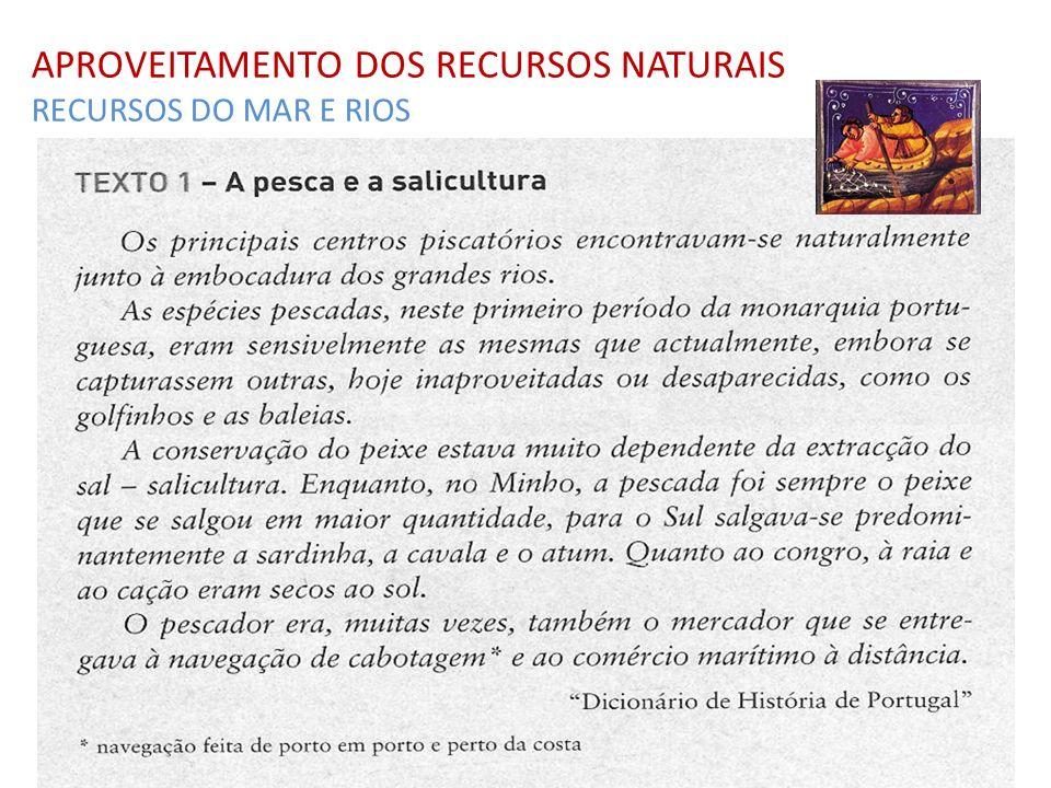 APROVEITAMENTO DOS RECURSOS NATURAIS RECURSOS DO MAR E RIOS