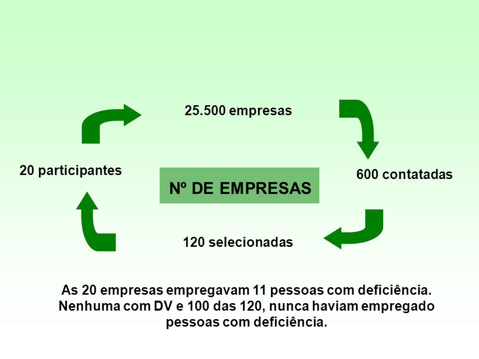 Nº DE EMPRESAS 25.500 empresas 20 participantes 600 contatadas