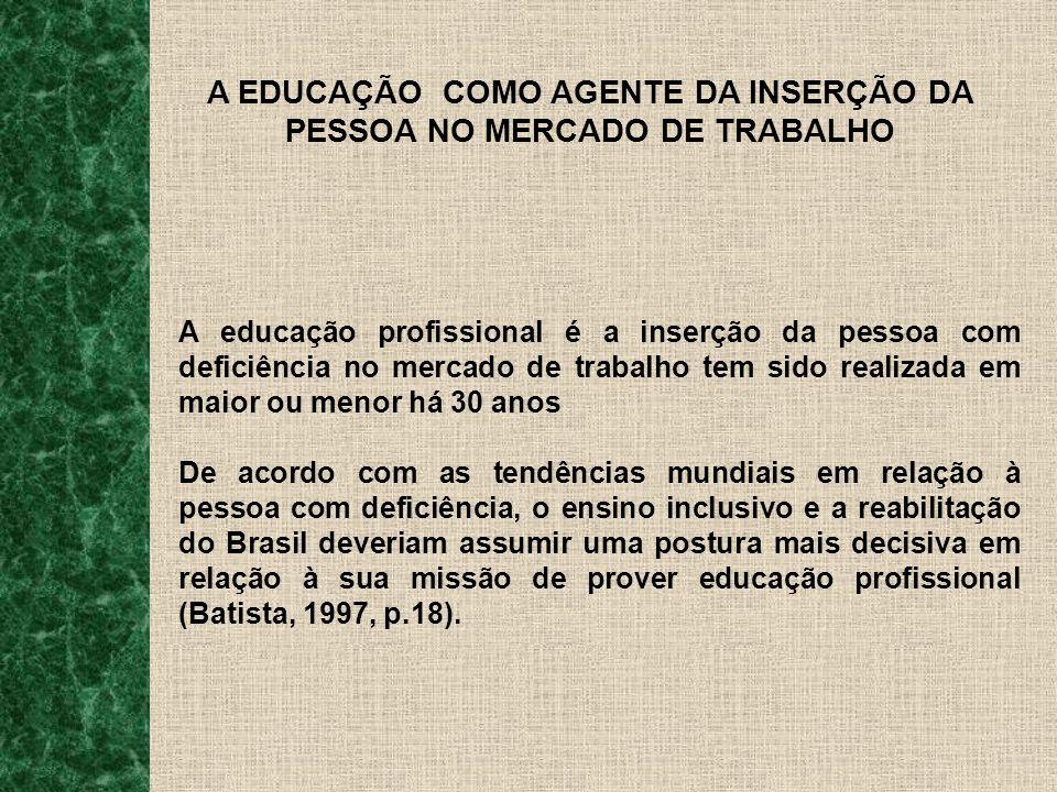 A EDUCAÇÃO COMO AGENTE DA INSERÇÃO DA PESSOA NO MERCADO DE TRABALHO