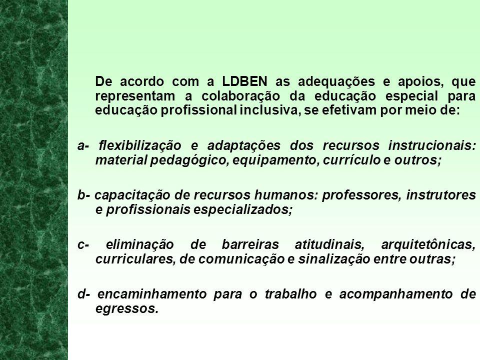 De acordo com a LDBEN as adequações e apoios, que representam a colaboração da educação especial para educação profissional inclusiva, se efetivam por meio de: