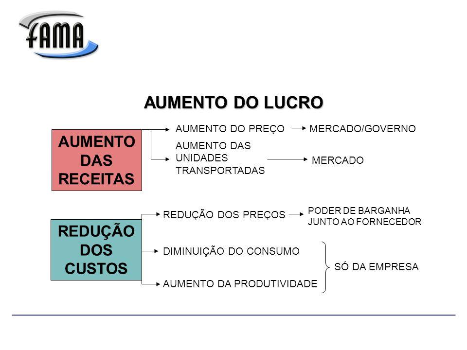 AUMENTO DO LUCRO AUMENTO DAS RECEITAS REDUÇÃO DOS CUSTOS