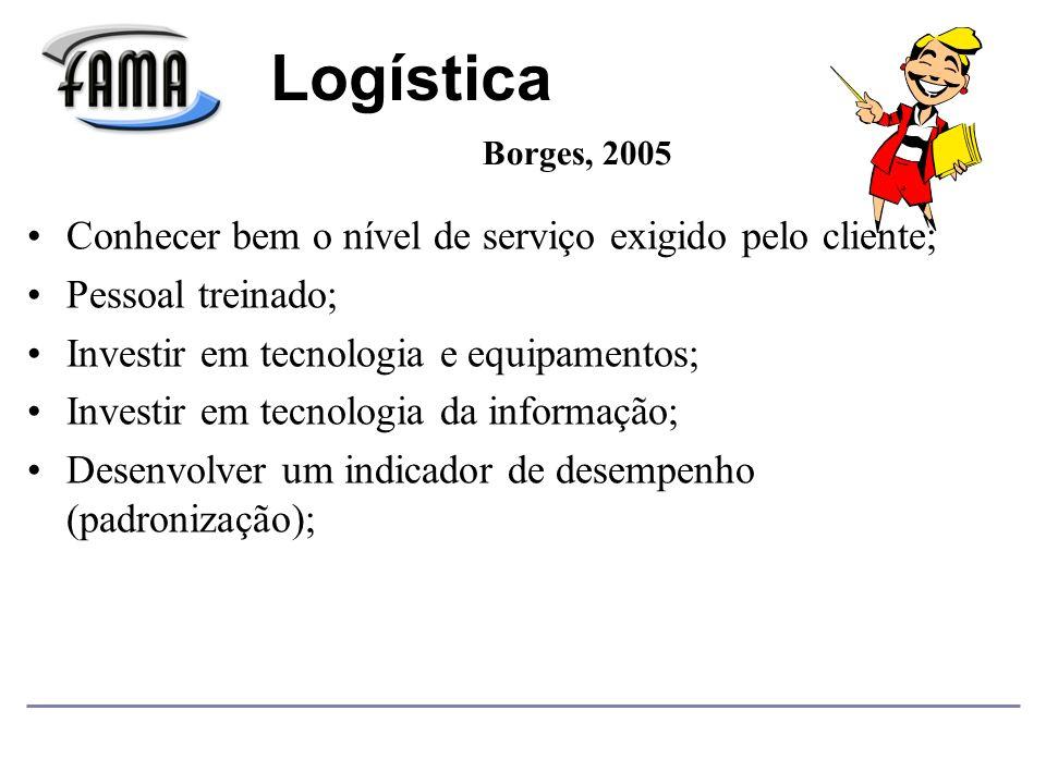 Logística Conhecer bem o nível de serviço exigido pelo cliente;