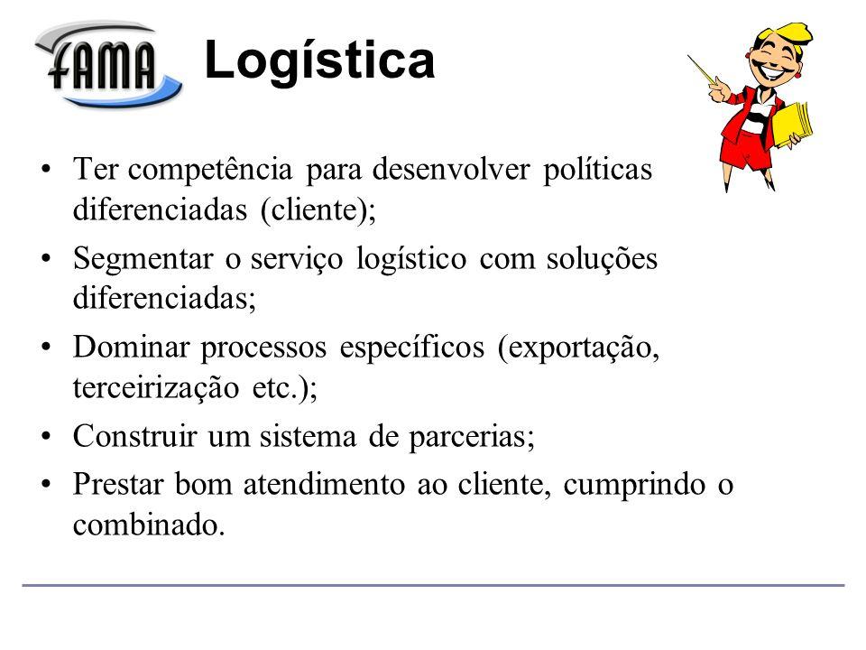 Logística Ter competência para desenvolver políticas diferenciadas (cliente); Segmentar o serviço logístico com soluções diferenciadas;