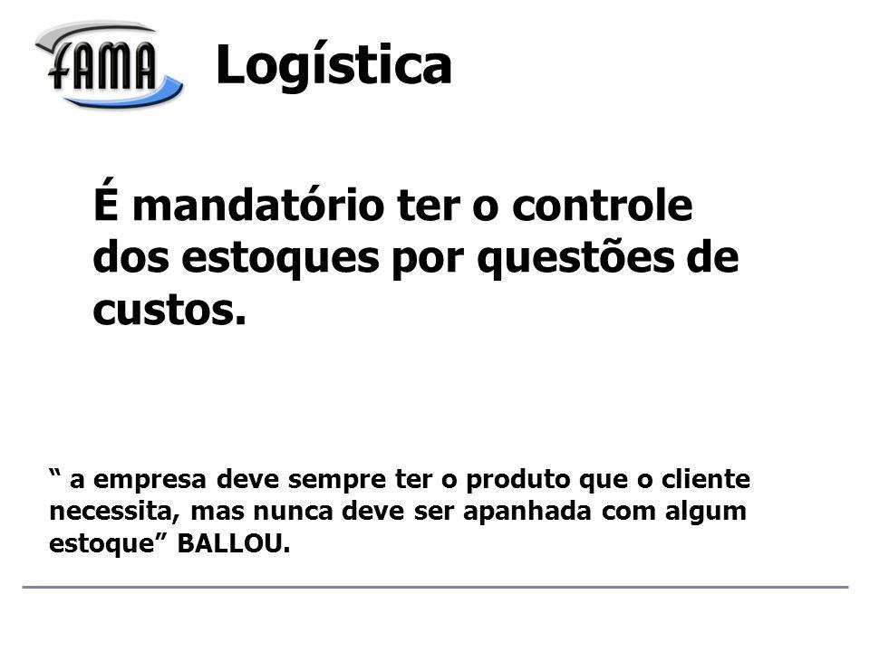 Logística É mandatório ter o controle dos estoques por questões de custos.