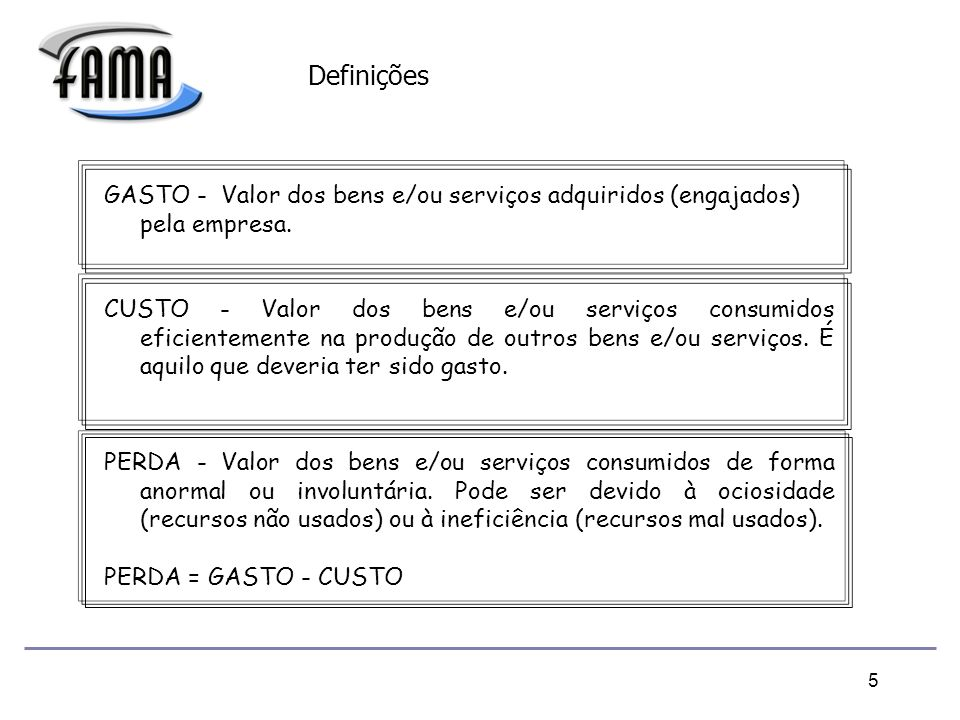 Definições GASTO - Valor dos bens e/ou serviços adquiridos (engajados) pela empresa.