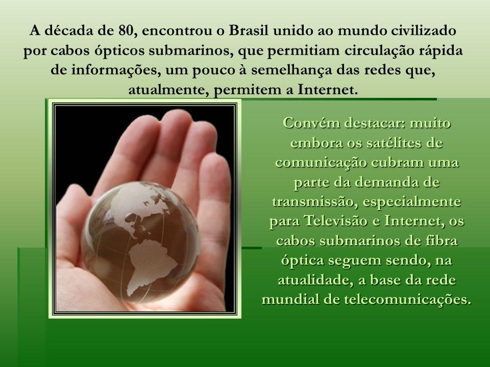 A década de 80, encontrou o Brasil unido ao mundo civilizado por cabos ópticos submarinos, que permitiam circulação rápida de informações, um pouco à semelhança das redes que, atualmente, permitem a Internet.