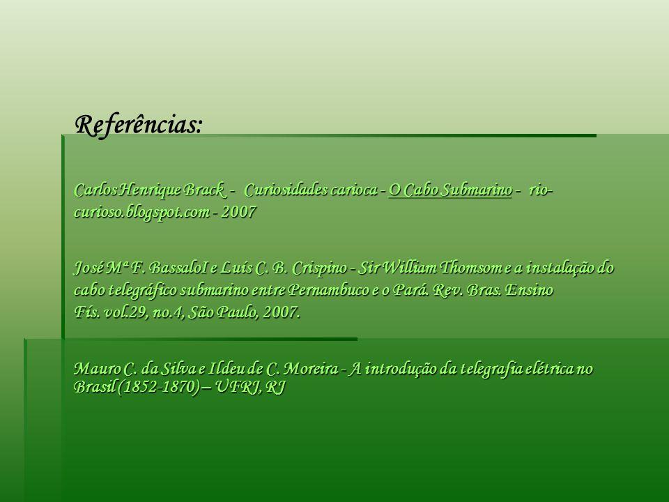 Referências: Carlos Henrique Brack - Curiosidades carioca - O Cabo Submarino - rio-curioso.blogspot.com - 2007.