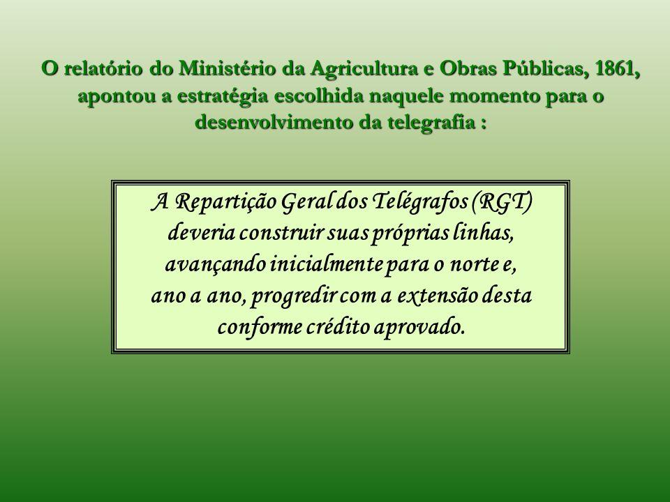 O relatório do Ministério da Agricultura e Obras Públicas, 1861, apontou a estratégia escolhida naquele momento para o desenvolvimento da telegrafia :