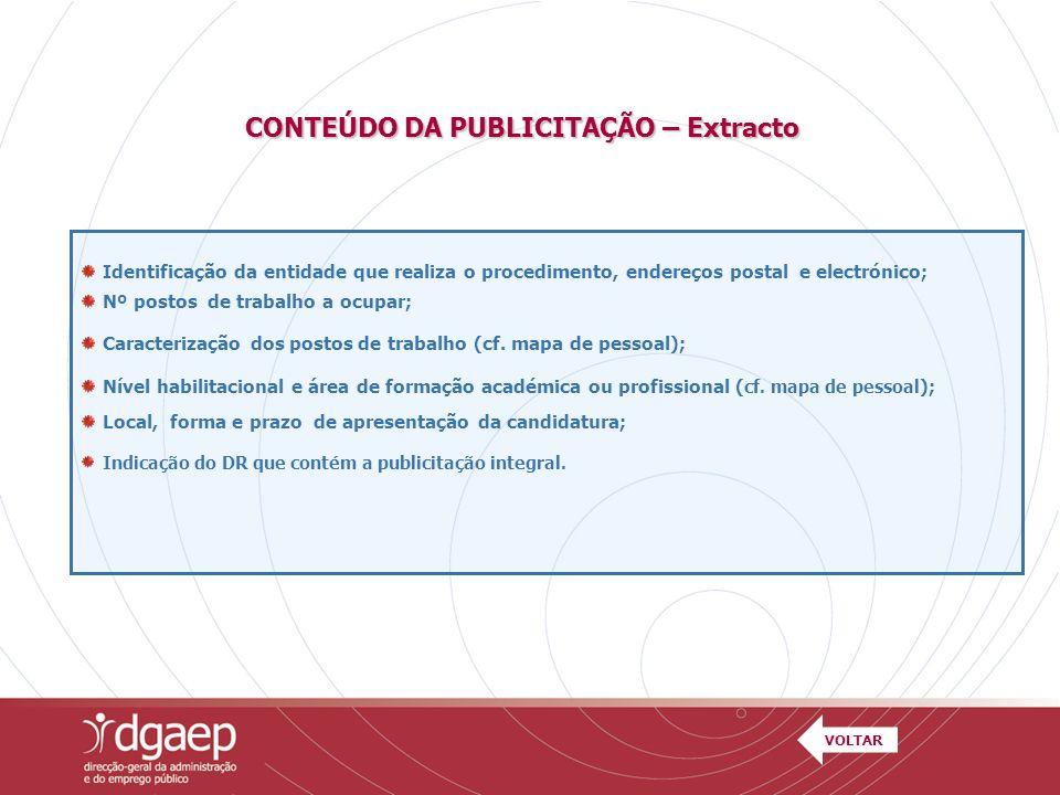 CONTEÚDO DA PUBLICITAÇÃO – Extracto
