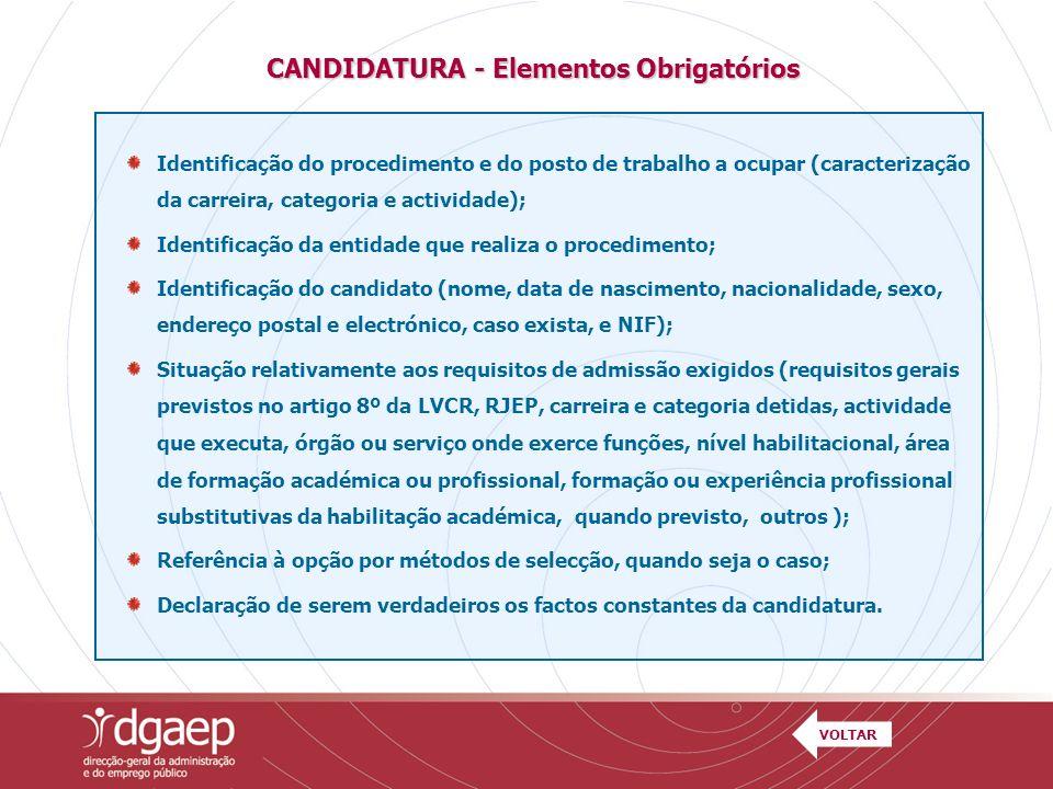 CANDIDATURA - Elementos Obrigatórios