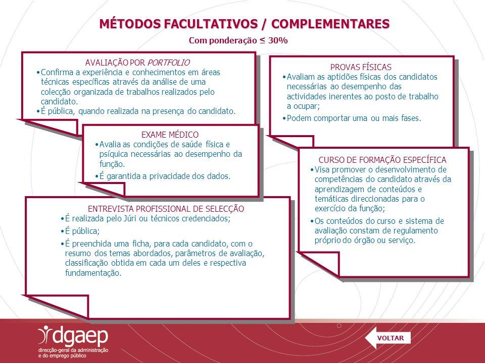 MÉTODOS FACULTATIVOS / COMPLEMENTARES