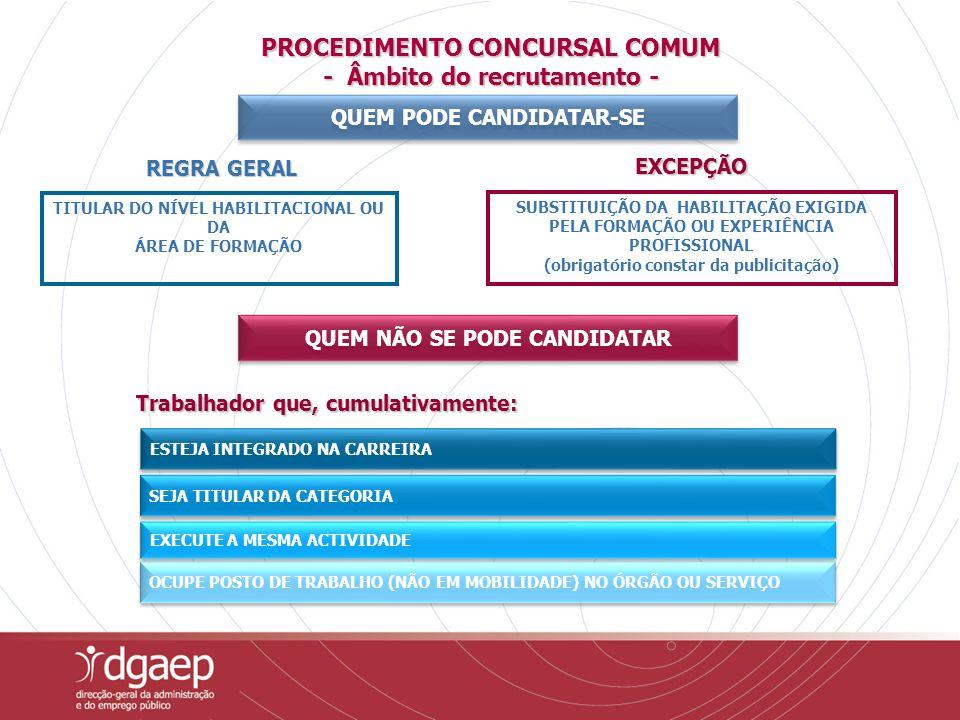 PROCEDIMENTO CONCURSAL COMUM - Âmbito do recrutamento -