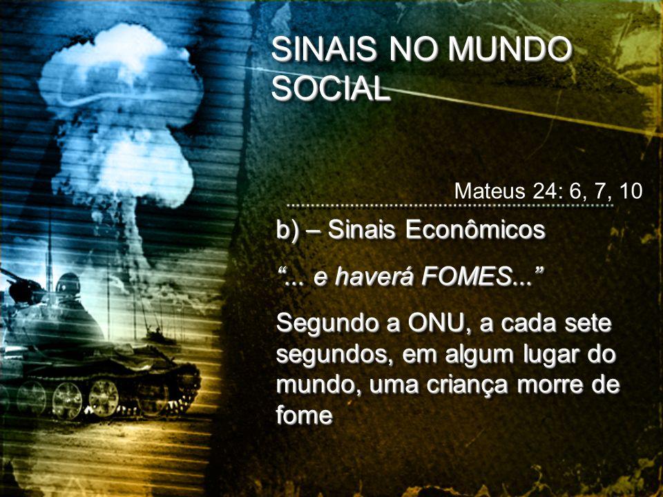 SINAIS NO MUNDO SOCIAL b) – Sinais Econômicos ... e haverá FOMES...
