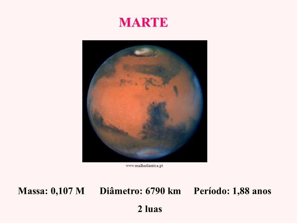 MARTE Massa: 0,107 M Diâmetro: 6790 km Período: 1,88 anos 2 luas