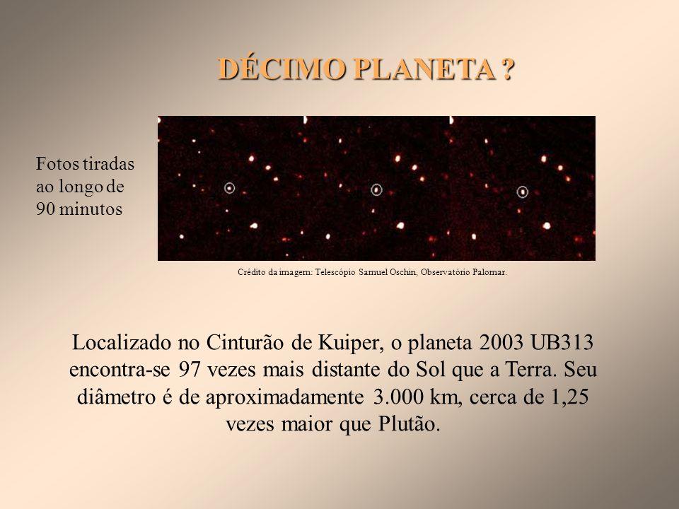 DÉCIMO PLANETA Fotos tiradas ao longo de 90 minutos. Crédito da imagem: Telescópio Samuel Oschin, Observatório Palomar.