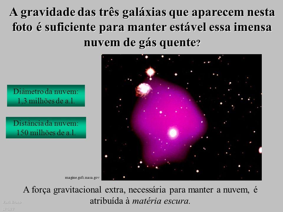 A gravidade das três galáxias que aparecem nesta foto é suficiente para manter estável essa imensa nuvem de gás quente