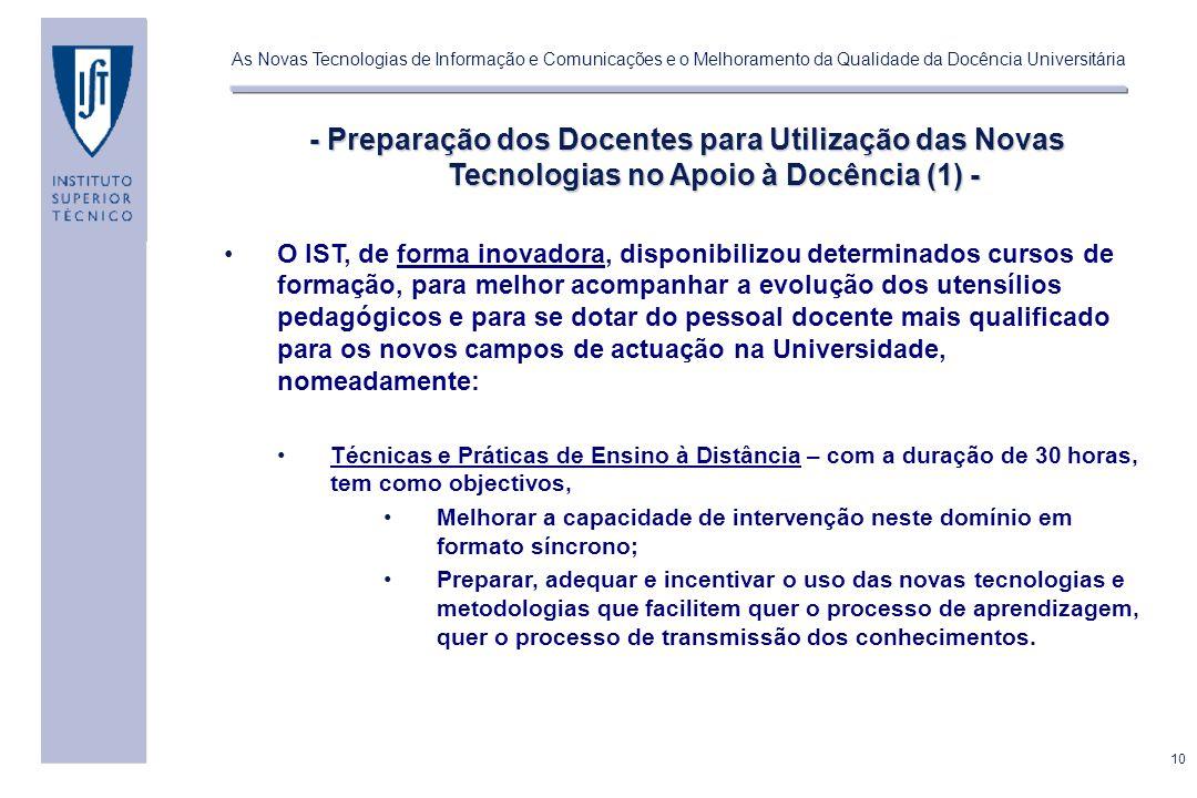 - Preparação dos Docentes para Utilização das Novas Tecnologias no Apoio à Docência (1) -