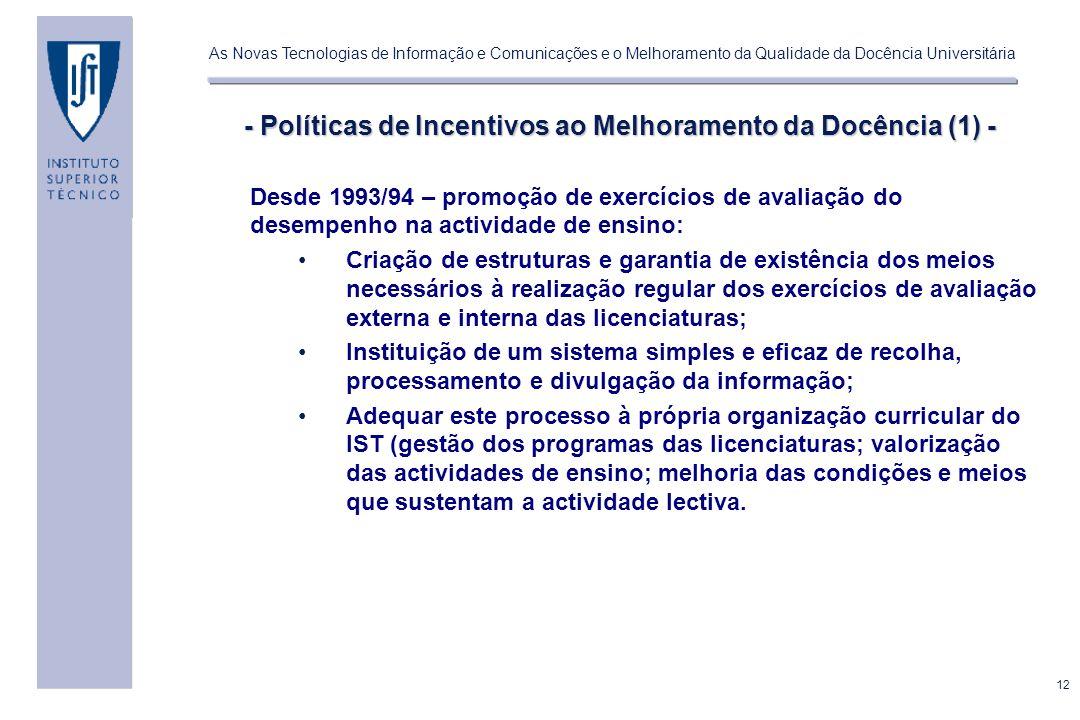 - Políticas de Incentivos ao Melhoramento da Docência (1) -