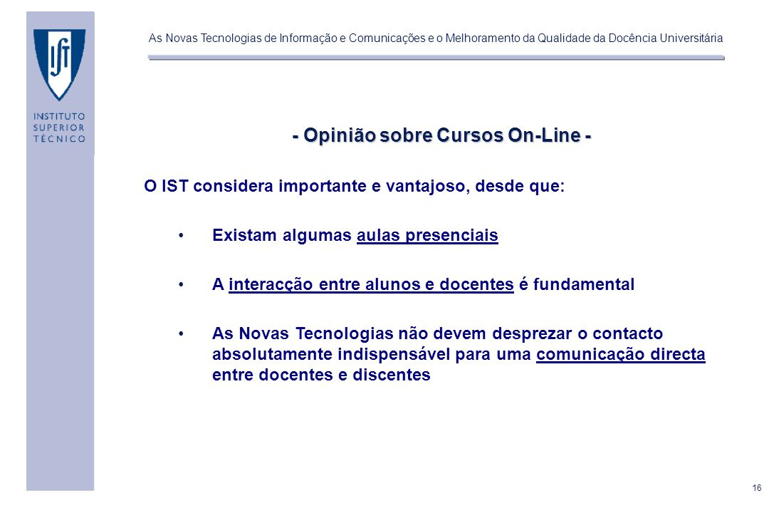 - Opinião sobre Cursos On-Line -