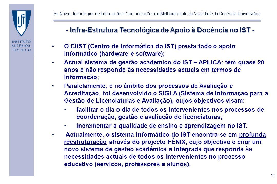 - Infra-Estrutura Tecnológica de Apoio à Docência no IST -