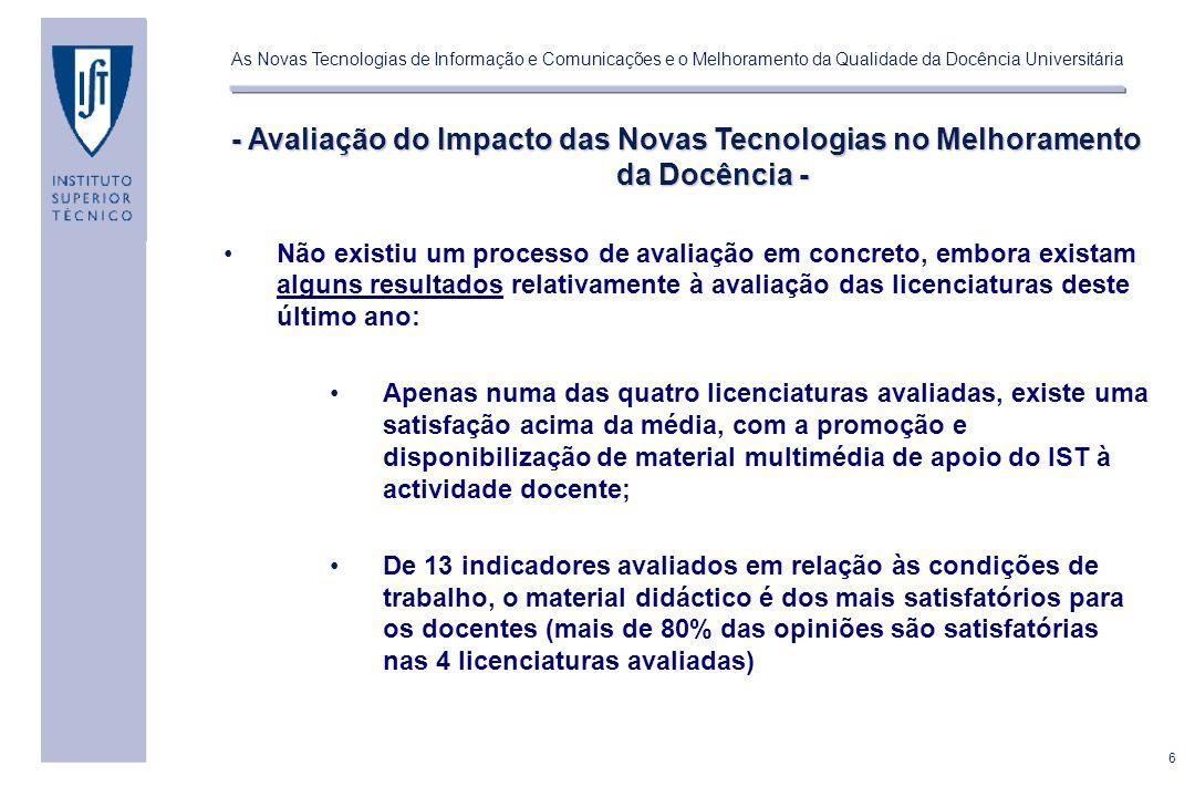 - Avaliação do Impacto das Novas Tecnologias no Melhoramento da Docência -