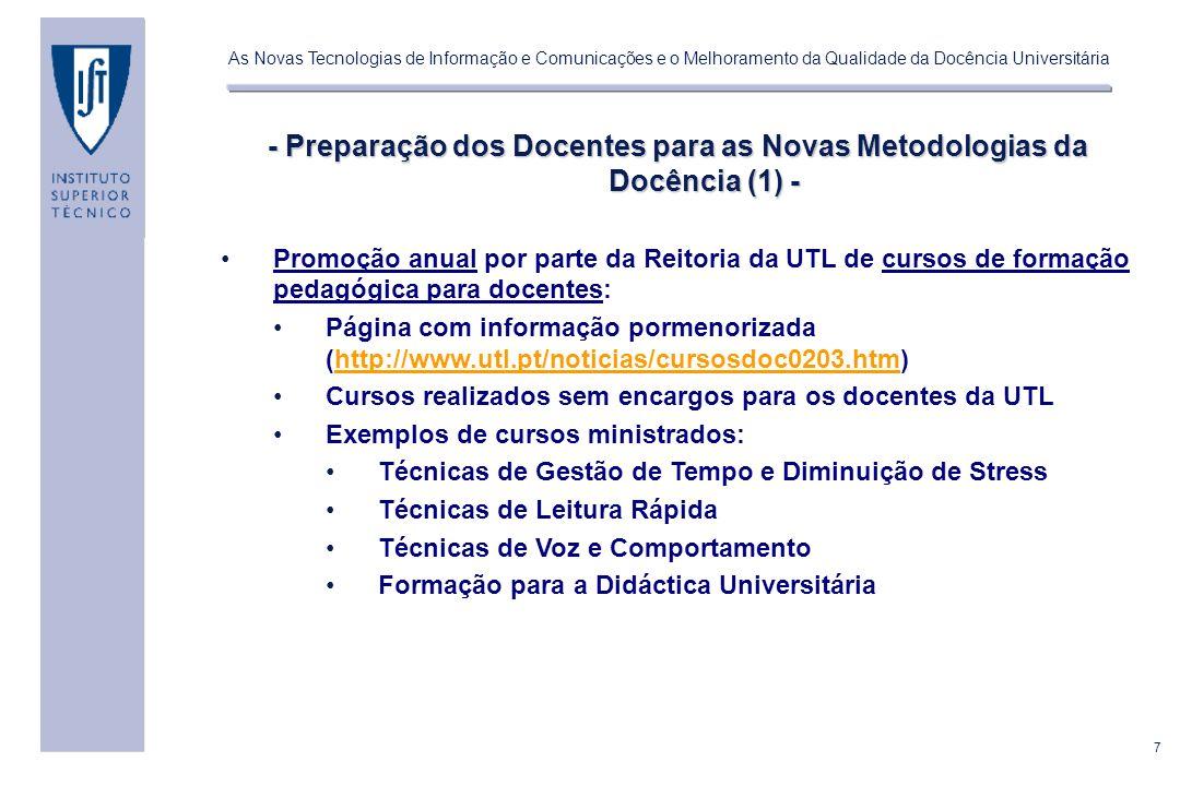 - Preparação dos Docentes para as Novas Metodologias da Docência (1) -