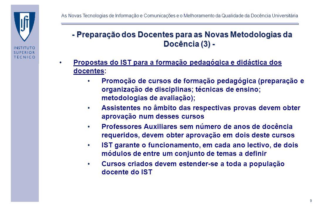 - Preparação dos Docentes para as Novas Metodologias da Docência (3) -