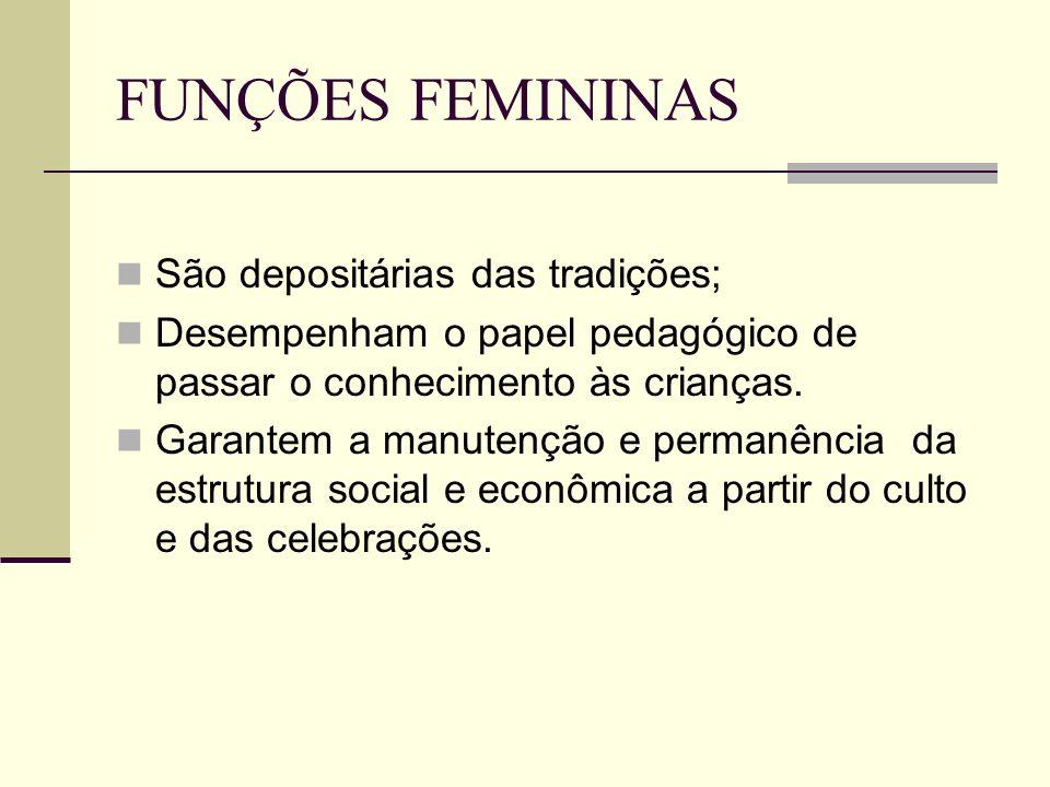 FUNÇÕES FEMININAS São depositárias das tradições;