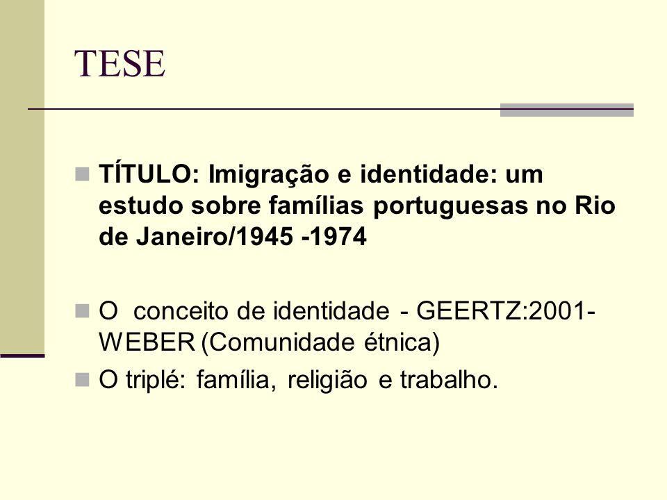 TESE TÍTULO: Imigração e identidade: um estudo sobre famílias portuguesas no Rio de Janeiro/1945 -1974.
