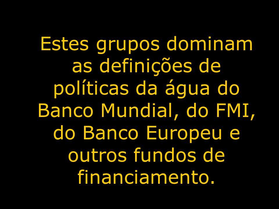 Estes grupos dominam as definições de políticas da água do Banco Mundial, do FMI, do Banco Europeu e outros fundos de financiamento.