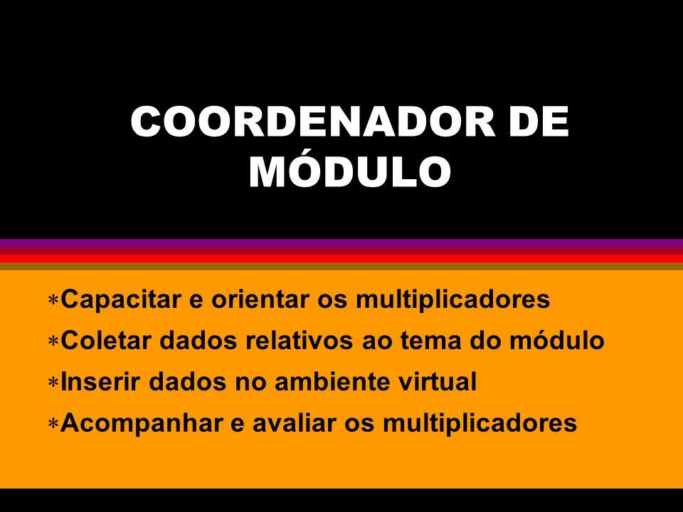 COORDENADOR DE MÓDULO Capacitar e orientar os multiplicadores