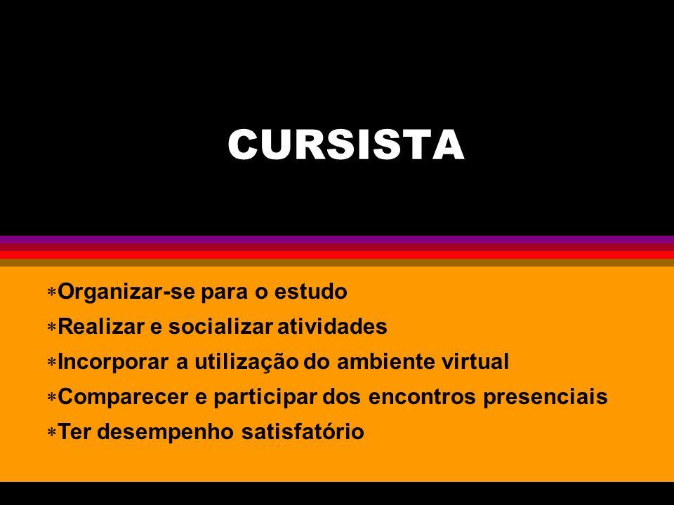 CURSISTA Organizar-se para o estudo Realizar e socializar atividades