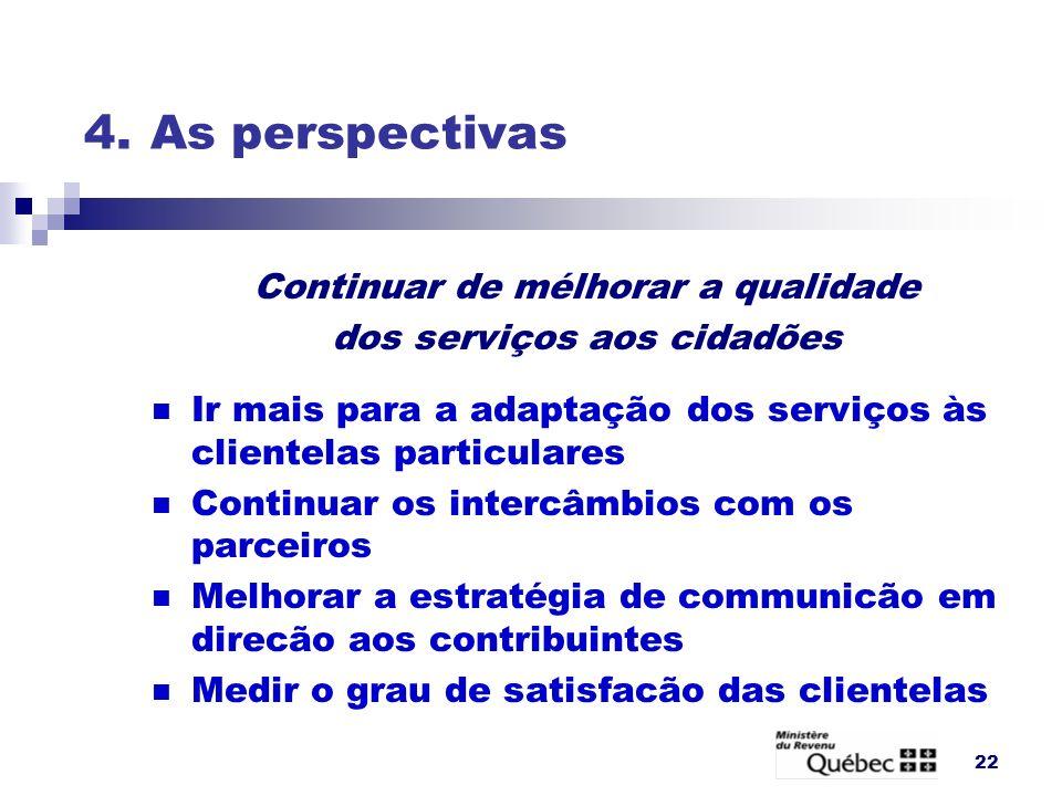 4. As perspectivas Continuar de mélhorar a qualidade