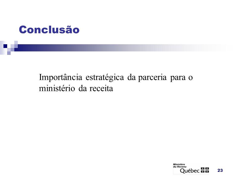Conclusão Importância estratégica da parceria para o ministério da receita