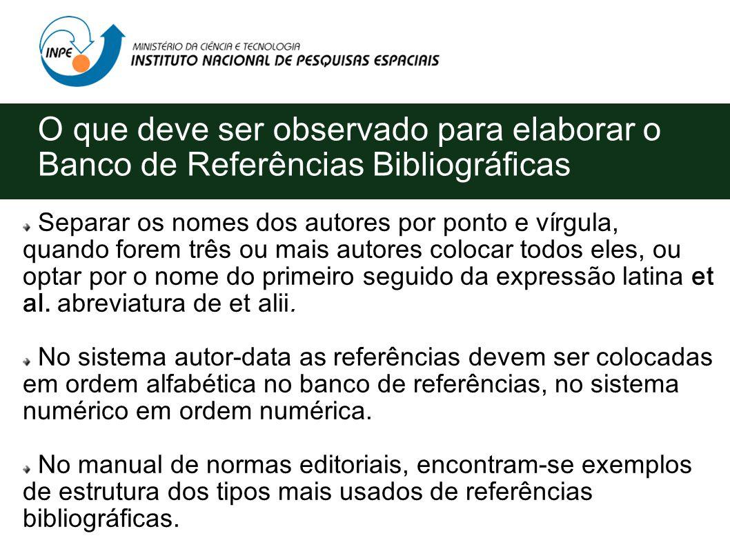 O que deve ser observado para elaborar o Banco de Referências Bibliográficas