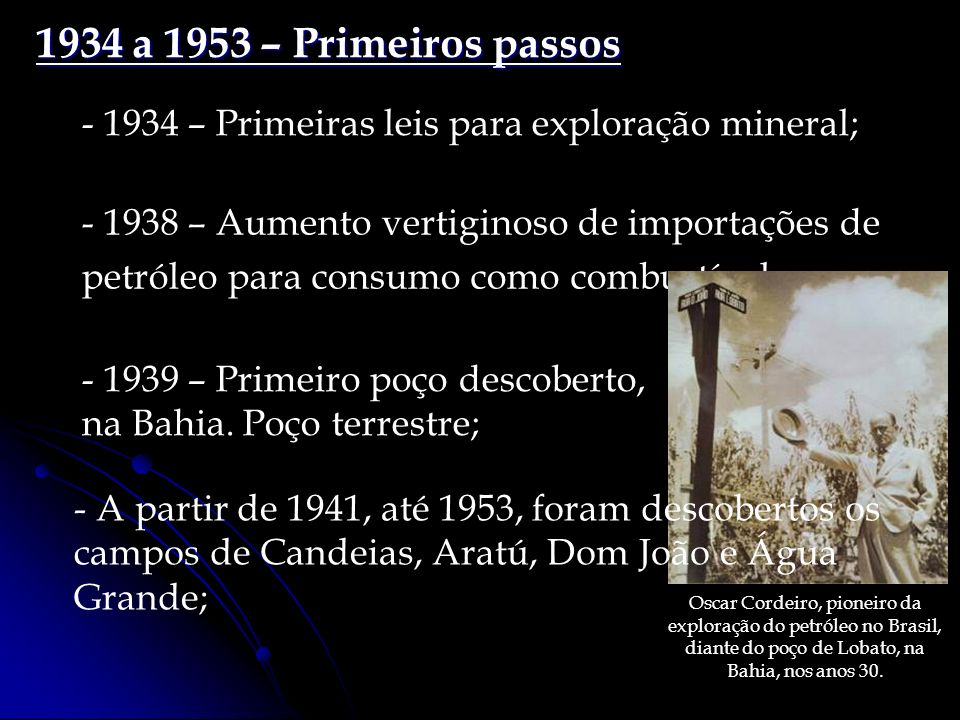 1934 a 1953 – Primeiros passos - 1934 – Primeiras leis para exploração mineral;