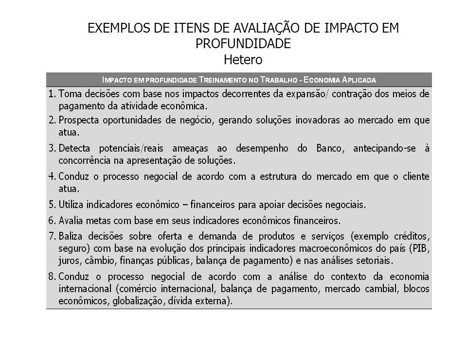 EXEMPLOS DE ITENS DE AVALIAÇÃO DE IMPACTO EM PROFUNDIDADE