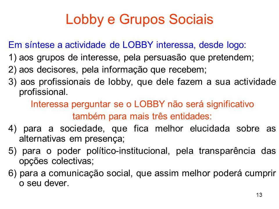 Lobby e Grupos SociaisEm síntese a actividade de LOBBY interessa, desde logo: 1) aos grupos de interesse, pela persuasão que pretendem;