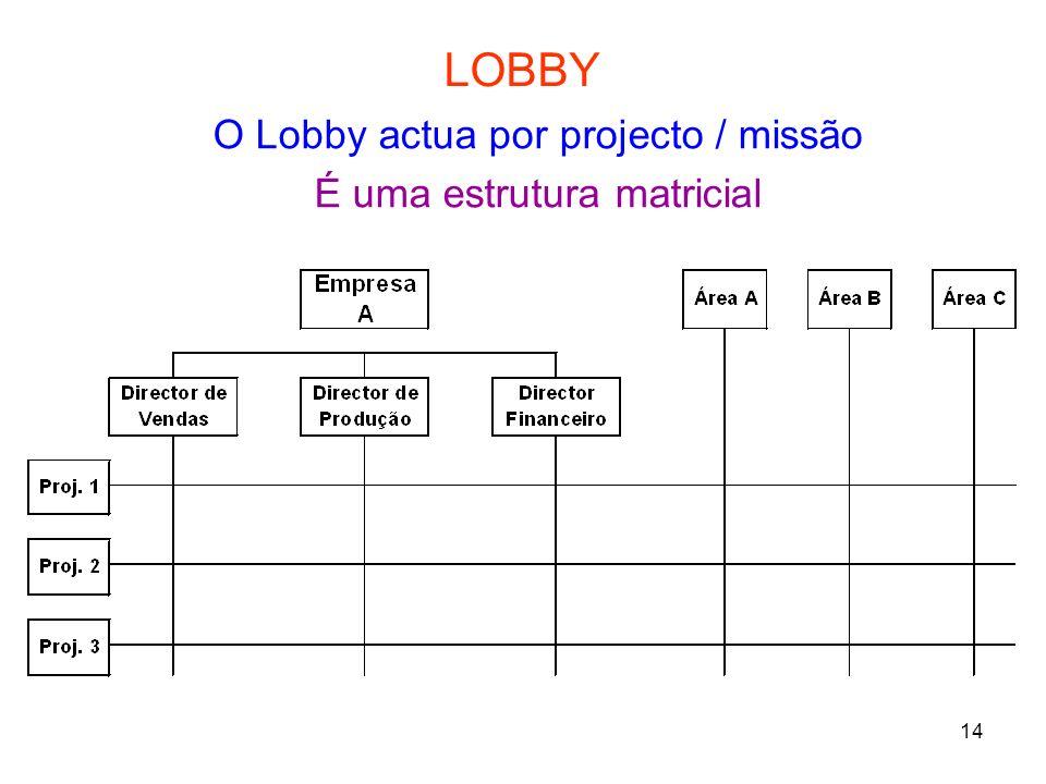 LOBBY O Lobby actua por projecto / missão É uma estrutura matricial