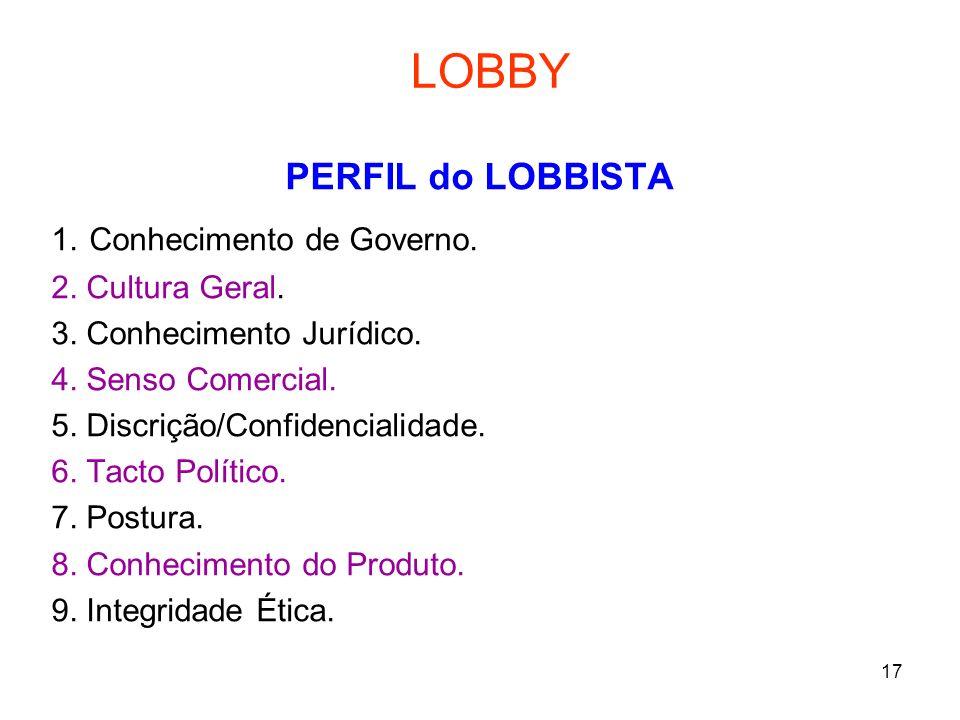 LOBBY PERFIL do LOBBISTA 1. Conhecimento de Governo. 2. Cultura Geral.