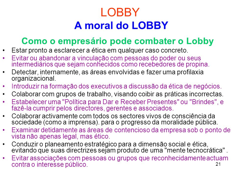 Como o empresário pode combater o Lobby