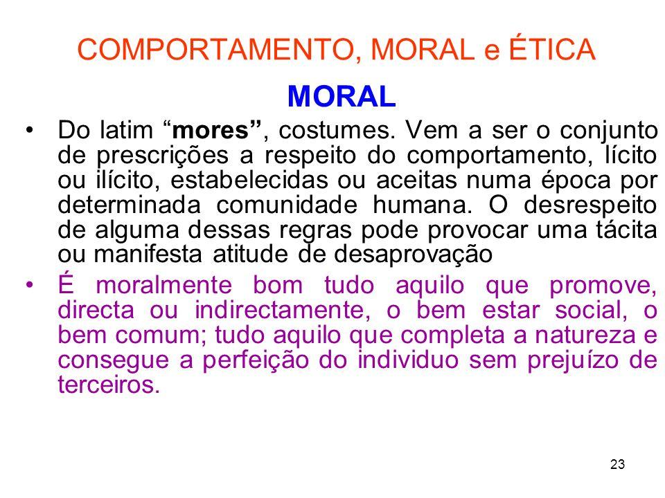 COMPORTAMENTO, MORAL e ÉTICA