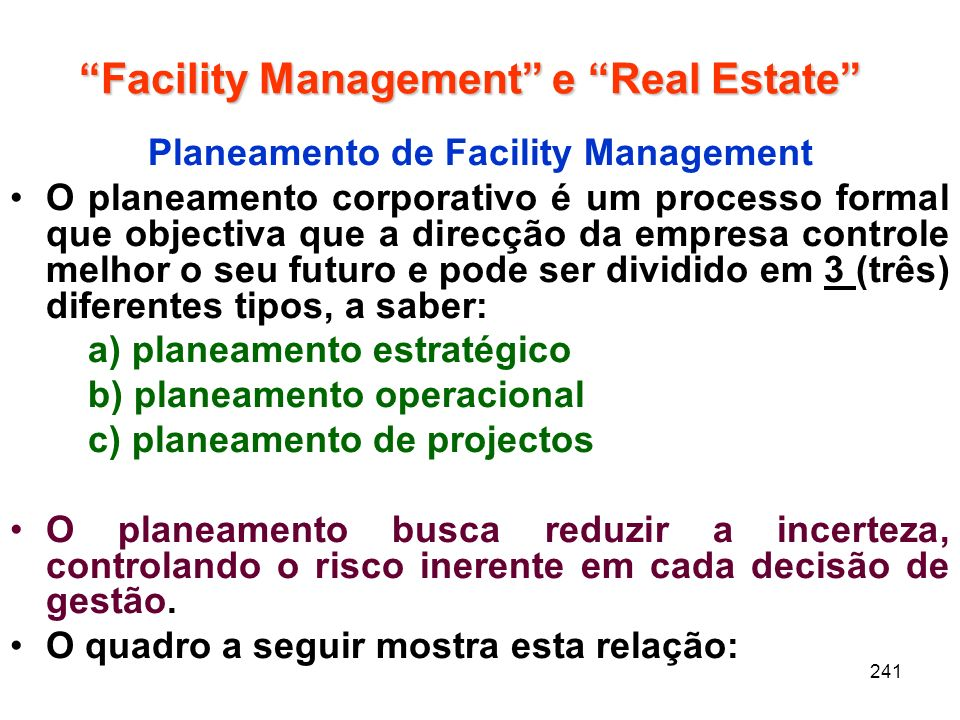 Facility Management e Real Estate
